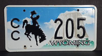 2002 base Wyoming Bucking Horse CC Community College License Plate #205