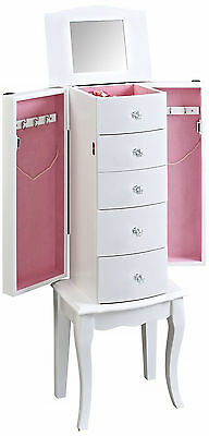 Jewelry Armoire White With Mirror Storage Chest Cabinet Stand Organizer Wood New