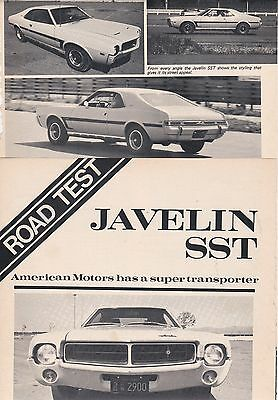 1969 American Motors JAVELIN SST, Concise 3-Page USA Car Magazine Road Test