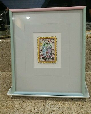 James Rizzi 3-D KISS KISS 1985 Signed & Numbered 19/150 Framed