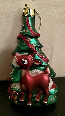 Rudolph the red nosed reindeer Glass Ornament perfect!!