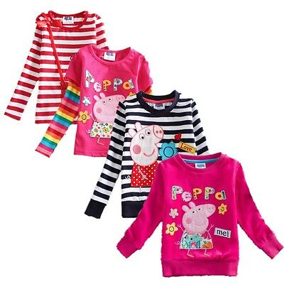 Girls For Spring Autumn Cotton Kids Baby Peppa Pig Long Sleeves T-shirt Clothes