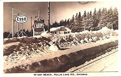 RPPC POSTCARD GAS, SERVICE STATION CABINS NELLIE LAKE nr IROQUOIS FALLS, ONTARIO