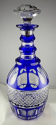 St. Louis Blue Cut to Clear French Crystal Trianon ring Neck Decanter - Rare