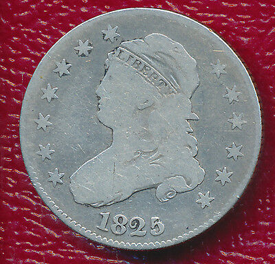 1825/4 Capped Bust Silver Quarter **very Nice Circulated Coin** Free Shipping!