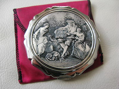 Vintage Silver T Engraved Lithograph Courting Couple Bird Dog Compact STRATTON