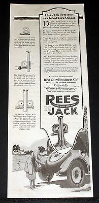 1920 Old Magazine Print Ad, Iron City Products, Rees Double Worm Gear Jack!