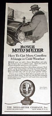 1920 Old Magazine Print Ad, Boyce Moto-Meter, Get More Mileage In Cold Weather!