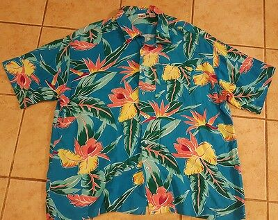 vintage 80s ISLANDER turquoise hawaiian palm tree floral button rayon shirt 3XL