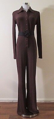 VINTAGE VIA MILANO by TINA HAGEN BROWN JERSEY BUTTON FRONT FULL LEG JUMPSUIT M