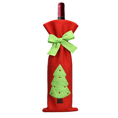 Red Wine Bottle Cover Bags Decoration Home Party Santa Claus Christmas Dinner