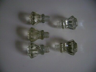 Antique Clear Glass Drawer Pulls-Threaded Screw In Type-Set Of 5
