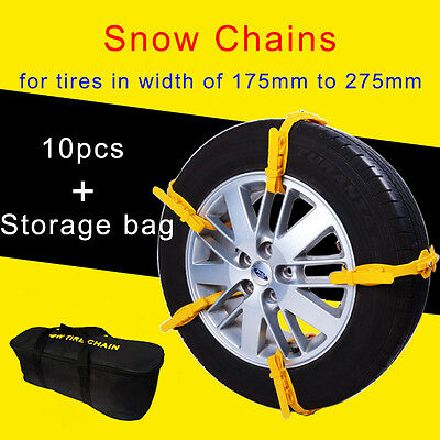 10Pcs Winter Anti-skid Car Wheel Tyre Snow Chains Easy Installation Wide Thicker