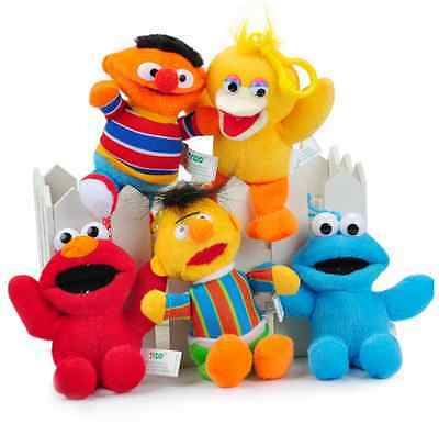 5 Styles Hot Sesame Street Elmo Cookie Monster Bert Soft Plush Toys With Chain