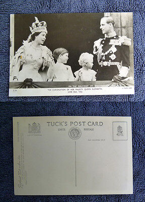 Old B&w Unused Royalty Postcard - Queen Elizabeth Coronation With Kids
