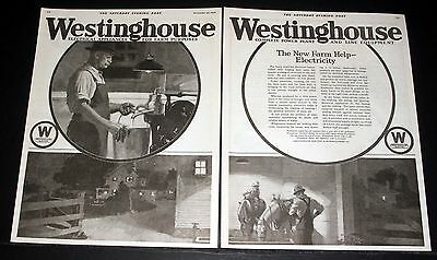 1920 Old Magazine Print Ad, Westinghouse, The New Farm Help - Electricity, Art!