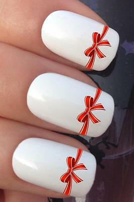 Christmas Nail Art Set #766 Present Ribbon Bow Water Transfers Decals Stickers