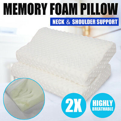 2X Pack Deluxe Elastic Memory Foam Contour Pillow Cover 50 x 30cm 10cm Thick NEW