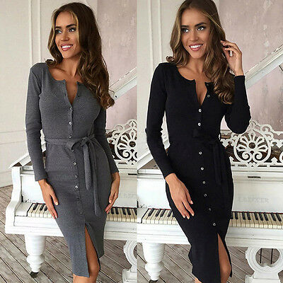 Womens Ladies Knitted Bodycon Jumper Dress Winter Bodycon Party Stretch Dresses