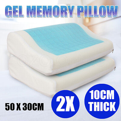 2x High Density Memory Foam Pillow Contour Cool Gel Top with Cover 50 x 30cm NEW