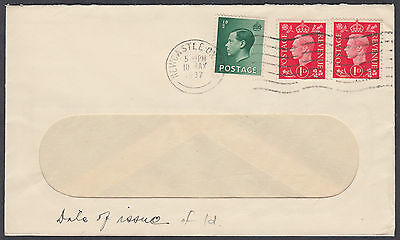 1937 KGVI 1d + 1d FDC + KEVIII 1/2d Mixed Franking , Newcastle on Tyne M/C