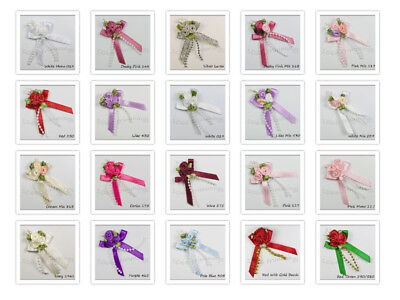 Satin Ribbon Triple Cluster  Posy Bow With Beads 30 Colours Pkts 4, 20, 50, 100