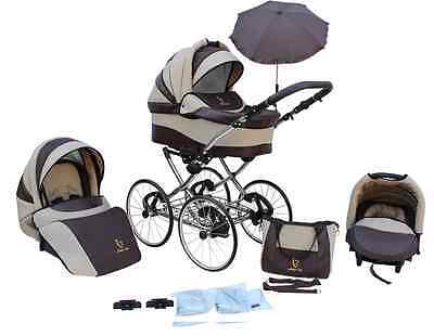 Kinderwagen AmberLine Classica Retro_BEIGE, 3 in 1- Set Wanne Buggy Babyschale