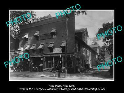 OLD LARGE HISTORIC PHOTO OF NEW PALTZ NEW YORK, THE FORD CAR DEALERSHIP c1920