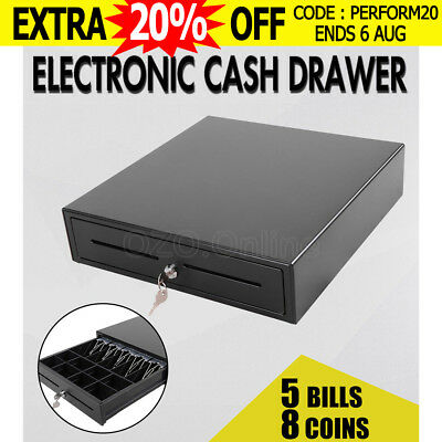 Heavy Duty Electronic Cash Drawer Cash Register POS 4 Bills 5 Coins AU Stock New