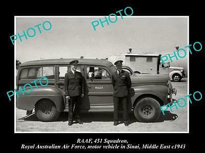 OLD LARGE HISTORIC PHOTO OF RAAF AIR FORCE 451 SQUADRON CAR IN MIDDLE EAST c1943