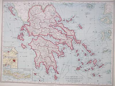 Map of Greece & Crete. 1905. original. EUROPE. MEDITERRANEAN