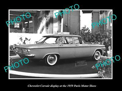Old Large Historic Photo Of Chevrolet Corvair 1959 Paris Motor Show Display