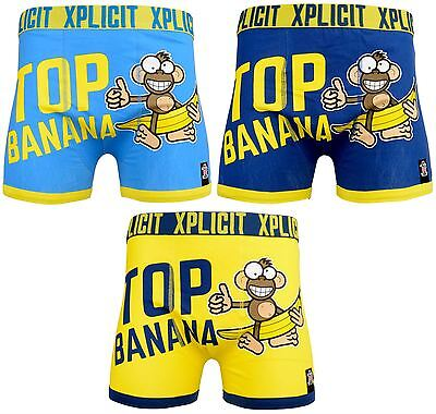 Xplicit Men's New 'Top Banana 3' Funny Rude Novelty Boxer Shorts Boxers Trunks