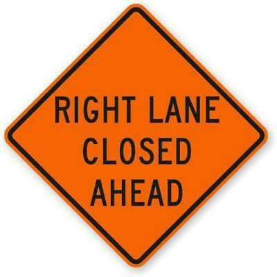 """Right Lane Closed Ahead 36"""" X 36"""" Vinyl Fluorescent Roll Up Sign With Ribs"""