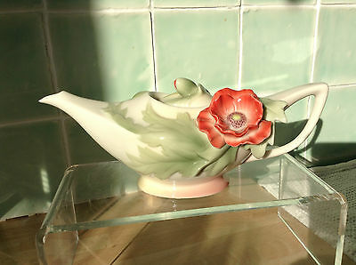 Franz Porcelain Beautiful Demi-Tasse Poppy Teapot Original Box Lovely Condition