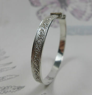 Silver Baby Bangle, Floral Scroll Design, Expanding, Christening