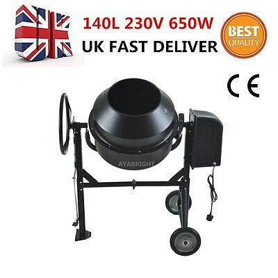 Large Professional 140 Litres Concrete Cement Mixer With Stand & Wheels 240v