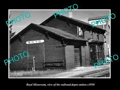 OLD LARGE HISTORIC PHOTO OF BOYD MINNESOTA, THE RAILROAD DEPOT STATION c1920