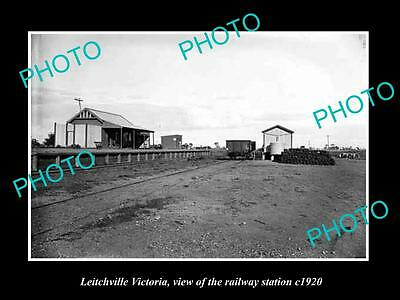 Old Large Historic Photo Of Leitchville Victoria, The Railway Station 1920