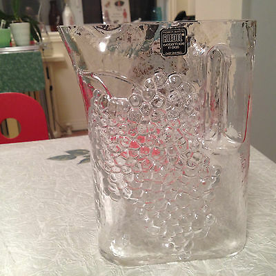 Riedel Austria Vintage Tyrol Crystal Water Pitcher/jug .raised Grapes 1980 Mint