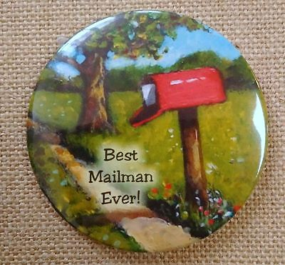 Best MAILMAN Ever, Fridge Magnet, Artwork: Red Country Mailbox Painting