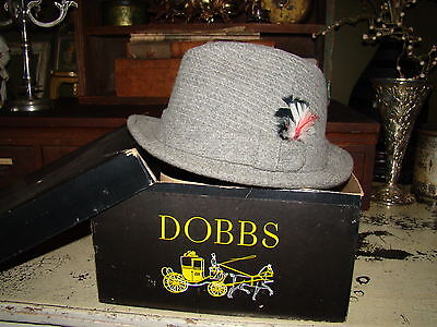 Vtg Fifth Avenue New York Gray Wool Mens Dobbs Fedora Derby Hat Size 7 With Box