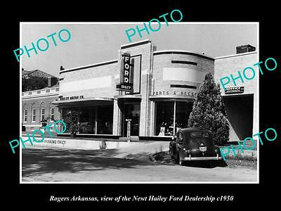 OLD LARGE HISTORIC PHOTO OF ROGERS ARKANSAS, THE FORD CAR DEALERSHIP c1950