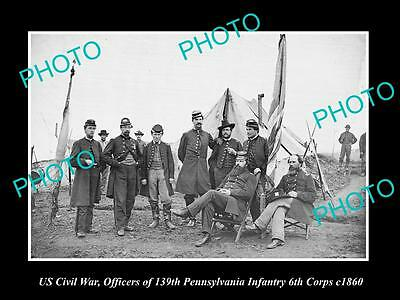 US CIVIL WAR HISTORIC PHOTO OF 139th PENNSYLVANIA INFANTRY OFFICERS c1860