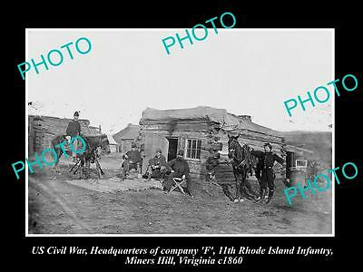US CIVIL WAR HISTORIC PHOTO OF MINERS HILL VIRGINIA, RHODE Is INFANTRY H/Q c1860