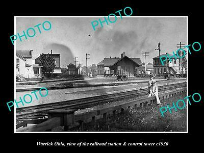 OLD LARGE HISTORIC PHOTO OF WARRICK OHIO, THE RAILROAD STATION & TOWER c1930