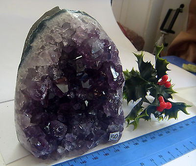 URUGUAY NATURAL AMETHYST CRYSTAL GEODE STAND ALONE ORNAMENT 730g st50
