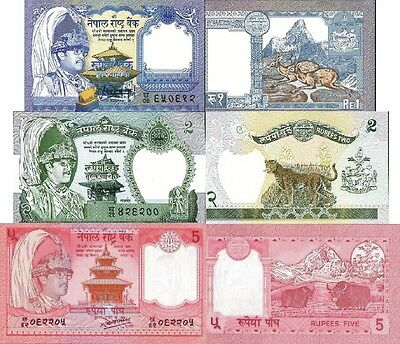 NEPAL - Lotto 3 banconote 1/2/5 Rupees FDS - UNC