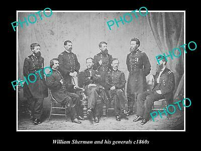 OLD LARGE HISTORIC PHOTO OF W. SHERMAN & HIS GENERALS, AMERICAN CIVAL WAR c1860s
