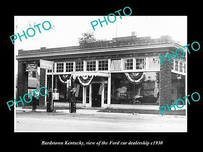 OLD LARGE HISTORIC PHOTO OF BARDSTOWN KENTUCKY, THE FORD CAR DEALERSHIP c1930